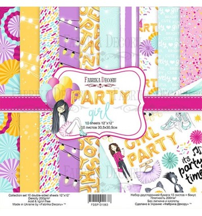 Pack 10 papeles 30,5x30,5 - 2 caras -Party girl, 12x 12