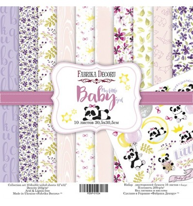Pack 10 papeles 30,5x30,5 - 2 caras - My little baby girl- 12x 12 - Fabrika Decoru